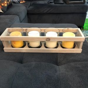 4 glass candle holder table runner/candles not inc